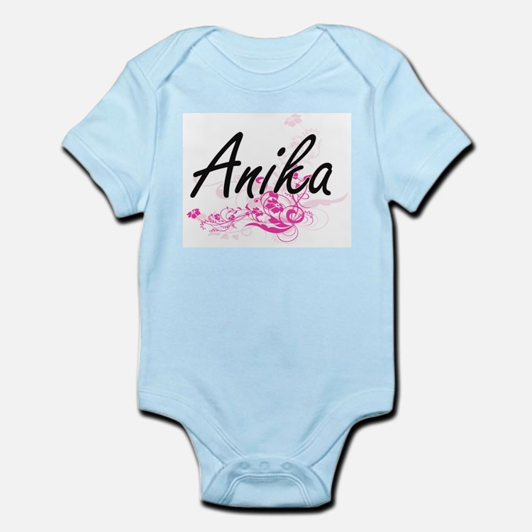 Anika Artistic Name Design with Flowers Body Suit