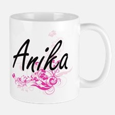 Anika Artistic Name Design with Flowers Mugs