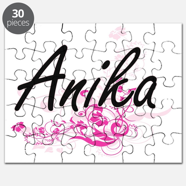 Anika Artistic Name Design with Flowers Puzzle
