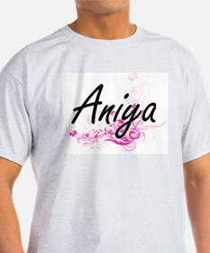 Aniya Artistic Name Design with Flowers T-Shirt