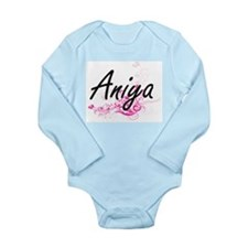 Aniya Artistic Name Design with Flowers Body Suit