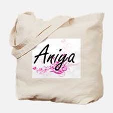 Aniya Artistic Name Design with Flowers Tote Bag