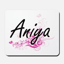 Aniya Artistic Name Design with Flowers Mousepad