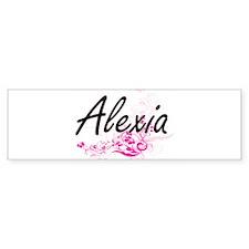 Alexia Artistic Name Design with Fl Bumper Car Sticker