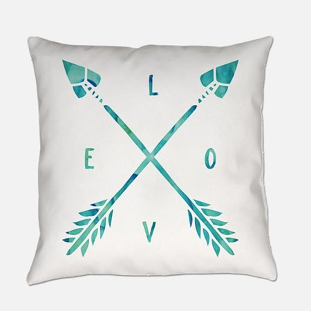 Turquoise Watercolor Love Arrows