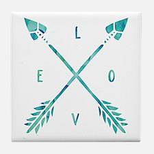 Turquoise Watercolor Love Arrows Tile Coaster
