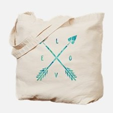 Turquoise Watercolor Love Arrows Tote Bag