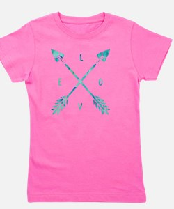 Turquoise Watercolor Love Arrows Girl's Tee