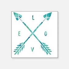 "Turquoise Watercolor Love A Square Sticker 3"" x 3"""