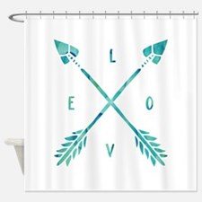 Turquoise Watercolor Love Arrows Shower Curtain