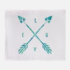 Turquoise Watercolor Love Arrows Throw Blanket