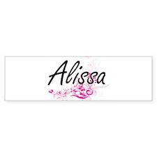 Alissa Artistic Name Design with Fl Bumper Car Sticker