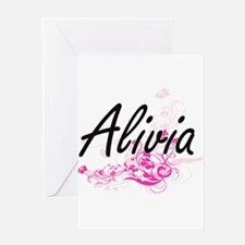 Alivia Artistic Name Design with Fl Greeting Cards