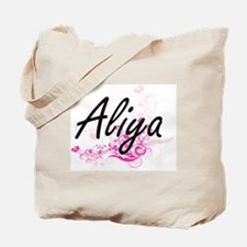 Aliya Artistic Name Design with Flowers Tote Bag