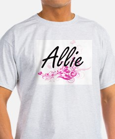 Allie Artistic Name Design with Flowers T-Shirt