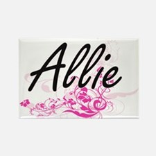 Allie Artistic Name Design with Flowers Magnets