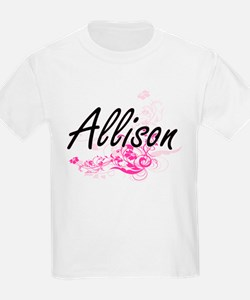 Allison Artistic Name Design with Flowers T-Shirt