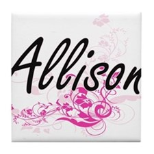 Allison Artistic Name Design with Flo Tile Coaster