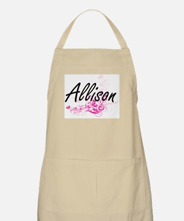 Allison Artistic Name Design with Flowers Apron