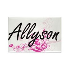 Allyson Artistic Name Design with Flowers Magnets