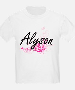 Alyson Artistic Name Design with Flowers T-Shirt