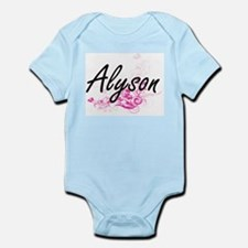 Alyson Artistic Name Design with Flowers Body Suit