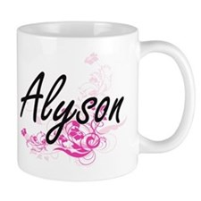 Alyson Artistic Name Design with Flowers Mugs