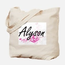 Alyson Artistic Name Design with Flowers Tote Bag