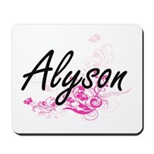 Alyson Artistic Name Design with Flowers Mousepad