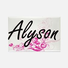 Alyson Artistic Name Design with Flowers Magnets