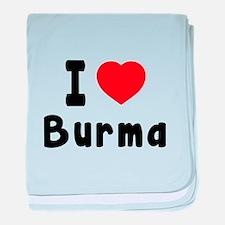 I Love Burma baby blanket