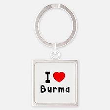 I Love Burma Square Keychain