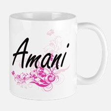 Amani Artistic Name Design with Flowers Mugs