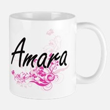 Amara Artistic Name Design with Flowers Mugs