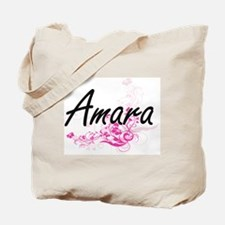 Amara Artistic Name Design with Flowers Tote Bag