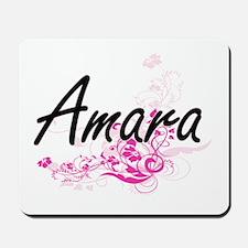 Amara Artistic Name Design with Flowers Mousepad