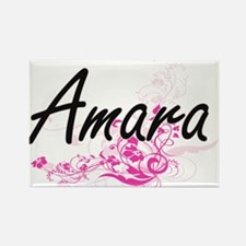 Amara Artistic Name Design with Flowers Magnets