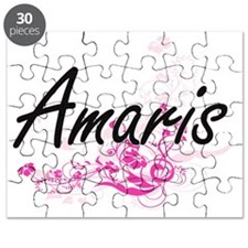 Amaris Artistic Name Design with Flowers Puzzle