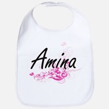 Amina Artistic Name Design with Flowers Bib