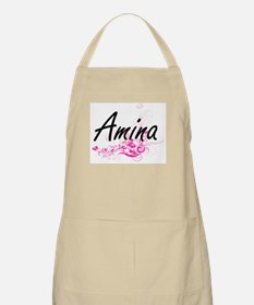 Amina Artistic Name Design with Flowers Apron