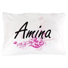 Amina Artistic Name Design with Flower Pillow Case