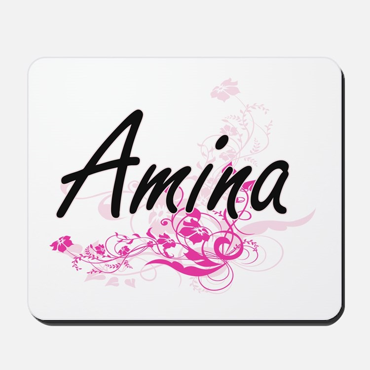 Amina Artistic Name Design with Flowers Mousepad