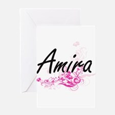 Amira Artistic Name Design with Flo Greeting Cards