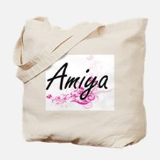 Amiya Artistic Name Design with Flowers Tote Bag