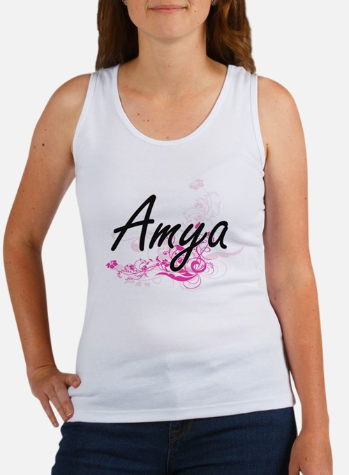 Amya Artistic Name Design with Flowers Tank Top
