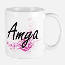 Amya Artistic Name Design with Flowers Mugs