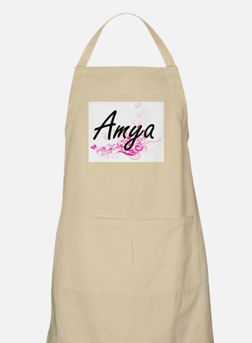 Amya Artistic Name Design with Flowers Apron