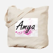 Amya Artistic Name Design with Flowers Tote Bag