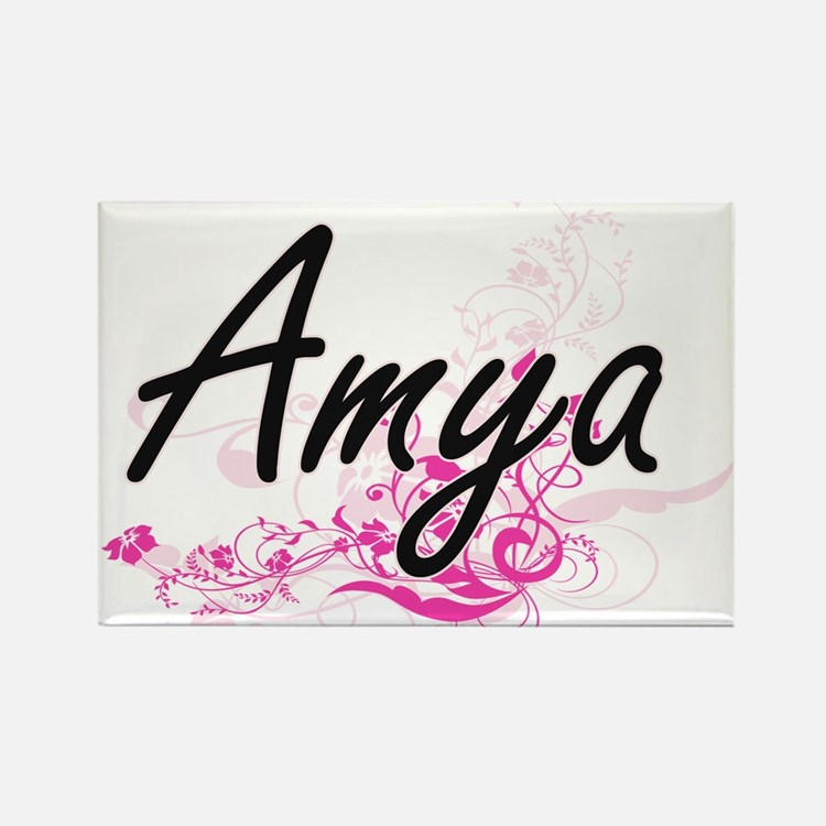 Amya Artistic Name Design with Flowers Magnets
