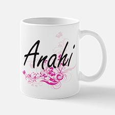 Anahi Artistic Name Design with Flowers Mugs
